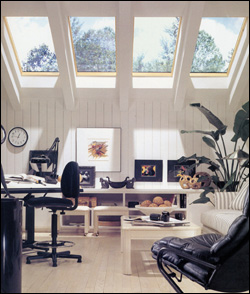 A room with skylights.